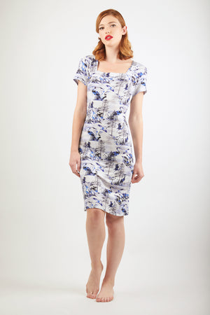 Sleeved Dress - Zayana Print - Blue