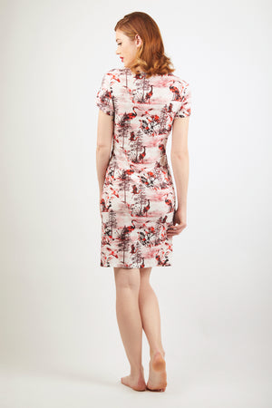 Sleeved Dress - Zayana Print - Red