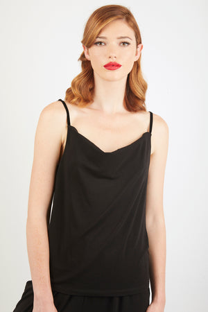 Cowl-Neck Vest Top - Black