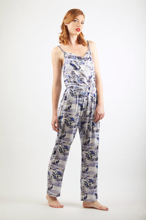 Cowl Neck Vest Top - Zayana Print - Blue