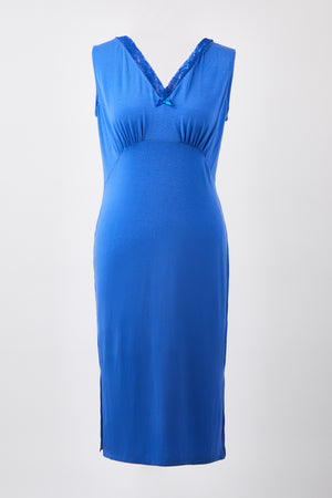 V-Neck Nightdress - Azure Blue