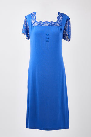 Sleeved Nightdress - Azure Blue