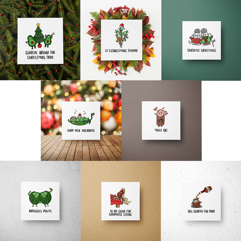 Food Christmas Cards - Selection of 8 cards