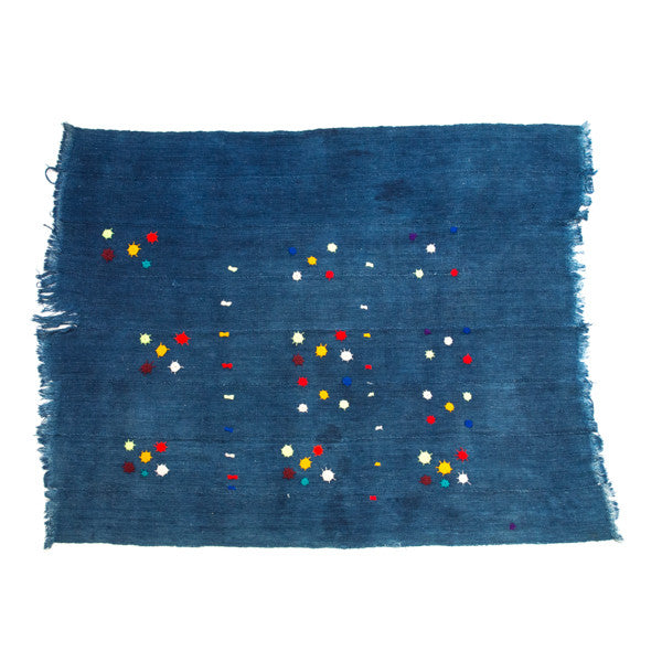 Handmade Vintage Embroidered Indigo Cloth - Mini Stars