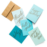 Teal Hue Letterpress Card S/5