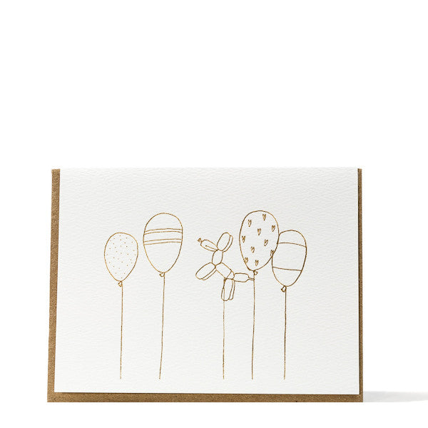 """Gold Balloons"" Foil Card"