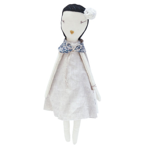 Jess Brown Rag Doll - Linen Dress & Collar