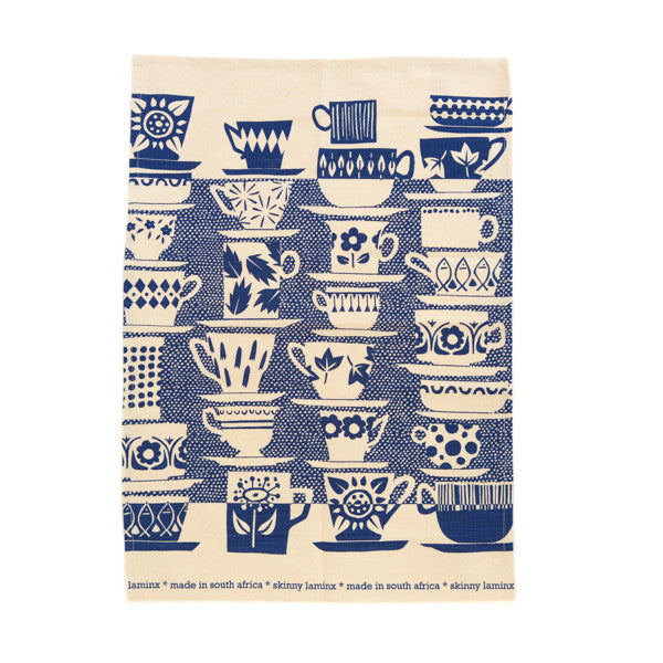 """Everyone Came To Tea"" Towel - China Blue"