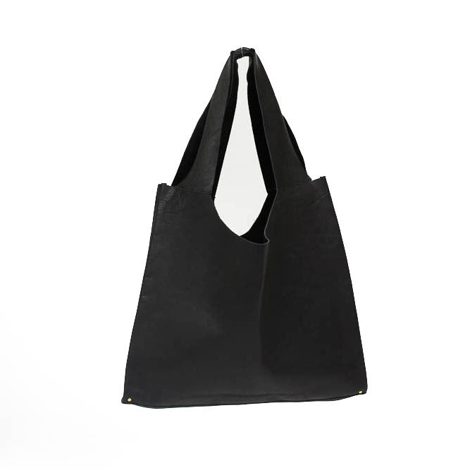 Black Leather and Brass Rivet Tote