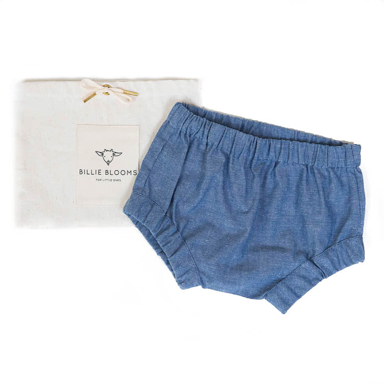Blue Chambray Baby Bloomers - Billie Blooms