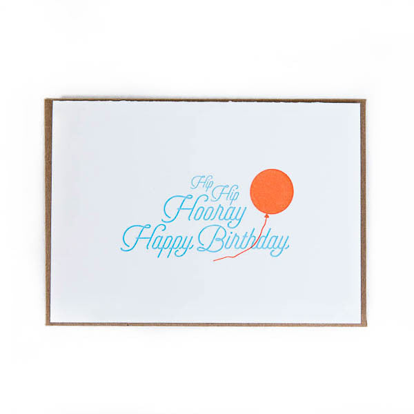 Letterpress Card - Happy Birthday Hip Hip Hooray