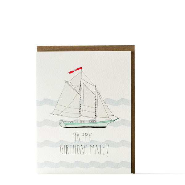 """Happy Birthday Mate"" Schooner Card"