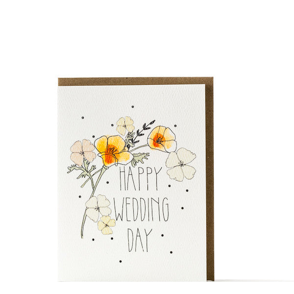 """Happy Wedding Day"" Poppies Card"