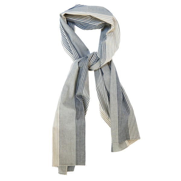The Hill-Side Scarf - Multi Stripe Chambray
