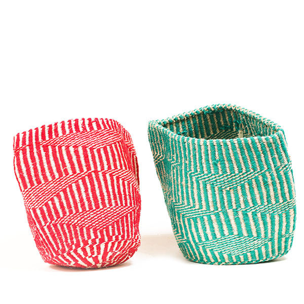 Colored African Wool Sisal Basket