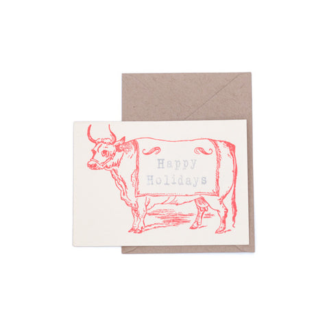 """Happy Holidays Steer"" Card"