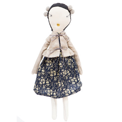 Jess Brown Rag Doll - Floral Dress & Linen Coat