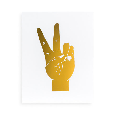 """Peace Out"" Letterpress Print - Gold"