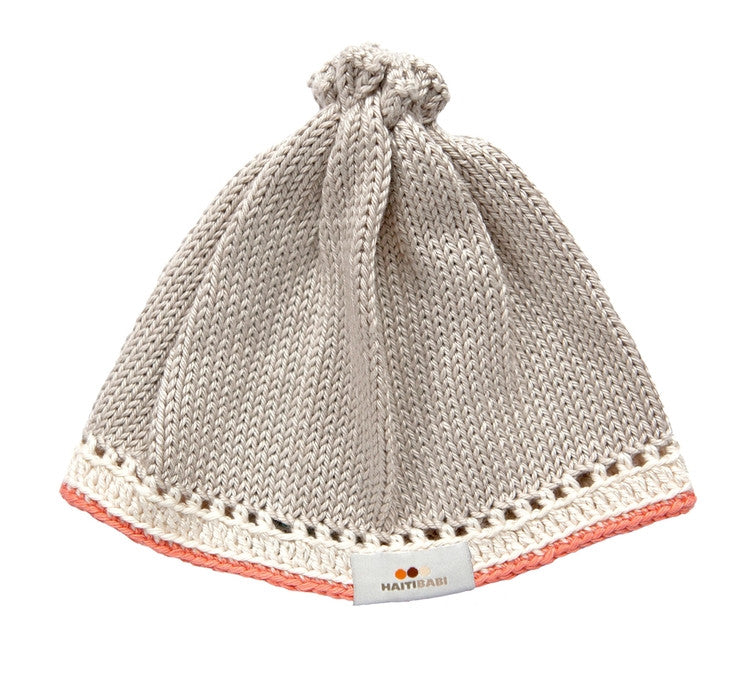 Knit Baby Hat - Taupe/Coral