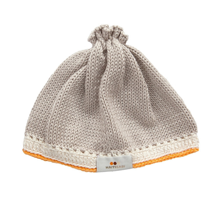 Knit Baby Hat - Taupe/Tangerine