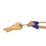 Braided Leather Key Chain - Natural/Blue