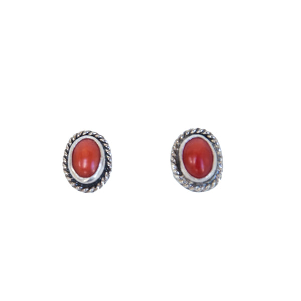 Vintage Sterling Coral Stud Earrings