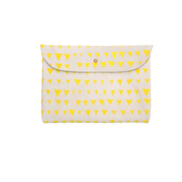 Printed Leather Pouch - Yellow & White