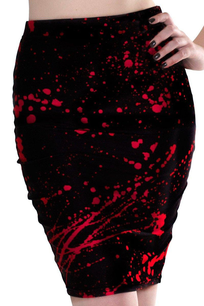Black Splatter Pencil Skirt - LIMITED