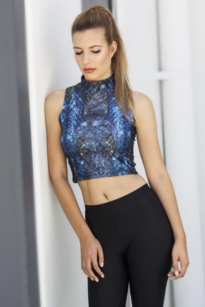 Blue Dragon Queen High Neck Crop