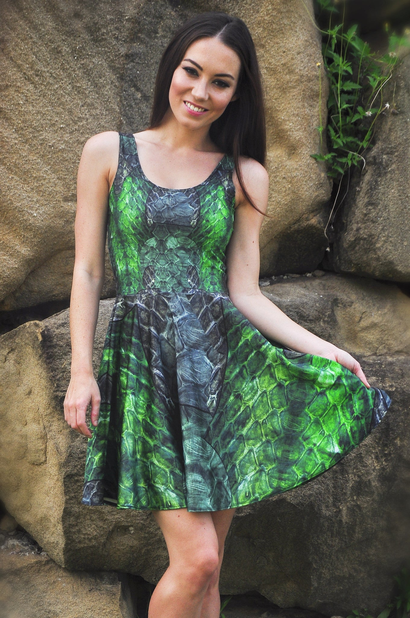 Green Dragon Queen Skater Dress