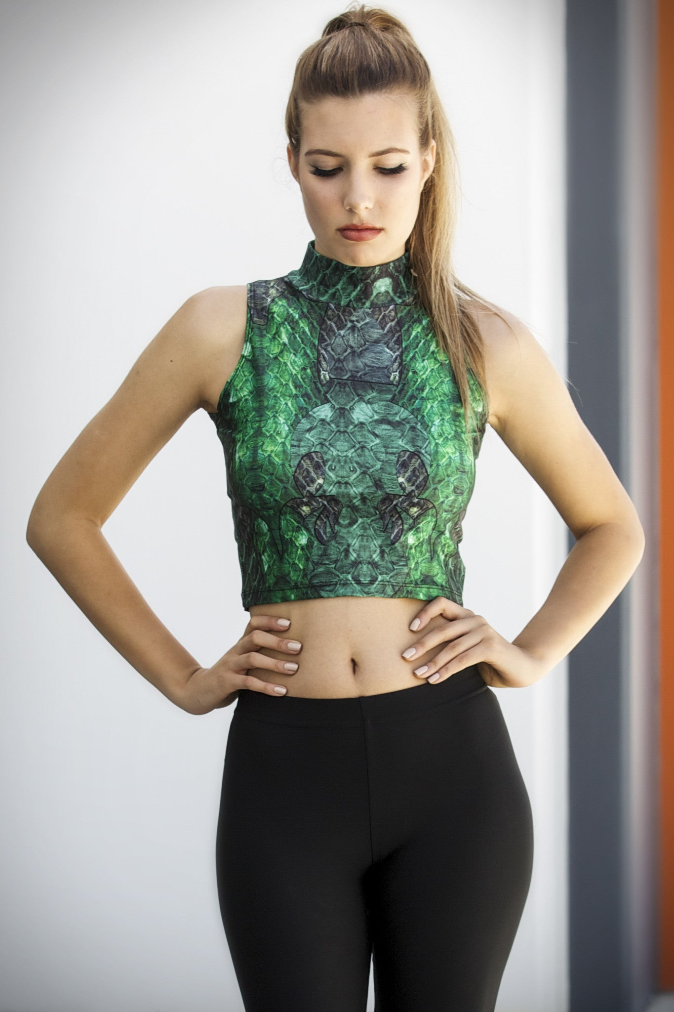 Green Dragon Queen High Neck Crop