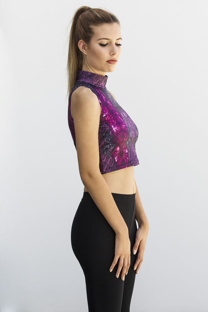 Purple Dragon Queen High Neck Crop