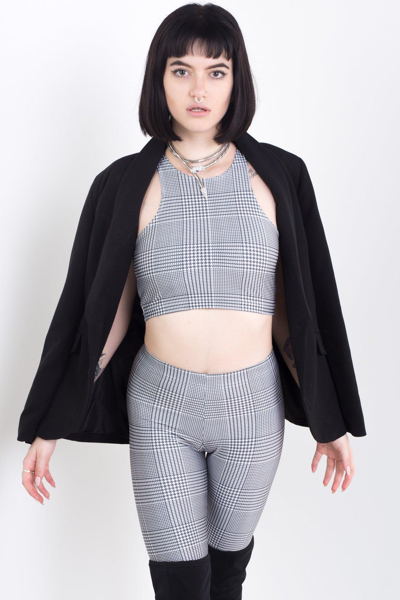 Black & White Business Plaid Racer Back Crop
