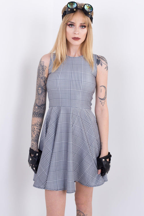 Black & White Business Plaid Vogue Dress