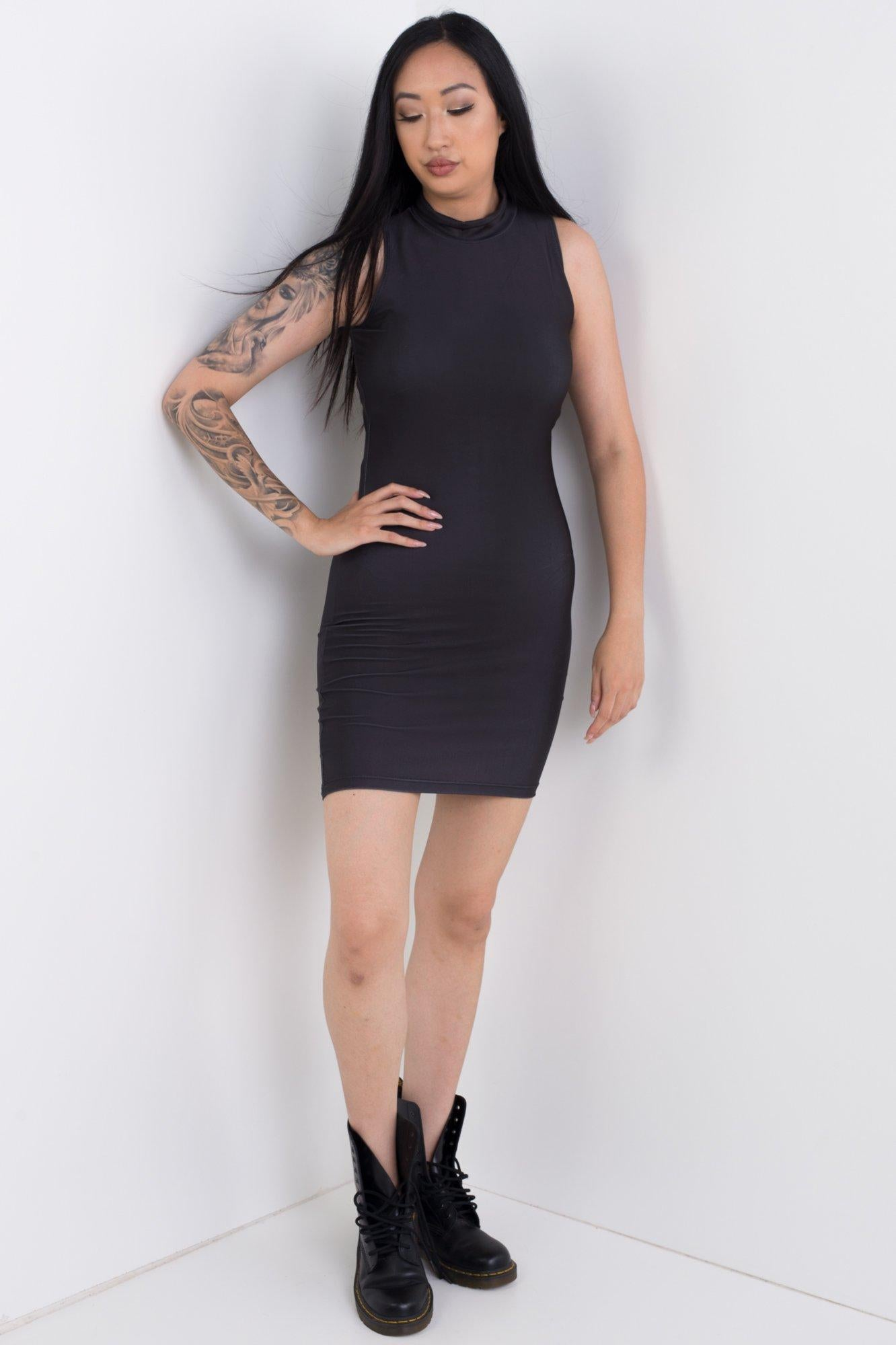 Black High Neck Bodycon Dress