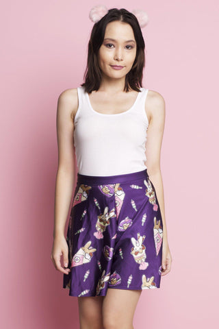 Kawaii Unicorn Off Shoulder Crop and Skater Skirt Set