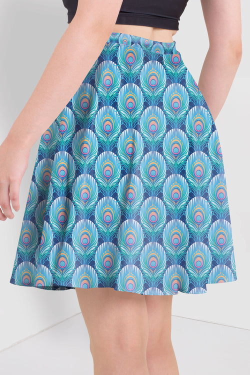 Colourful Peacock Feather Skater Skirt
