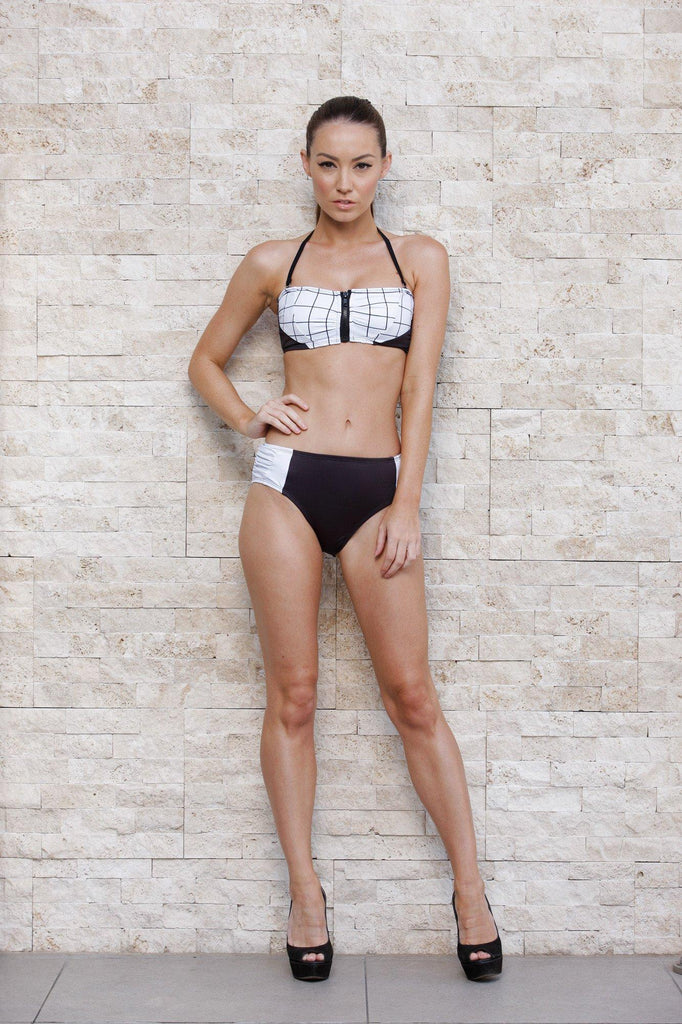 Cross Hatch Zip Front Bandeau Top & Midnight High Waist Bikini Bottom