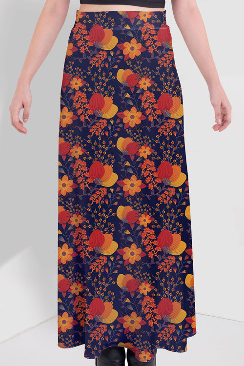 Cute Spring Flowers Maxi Skirt