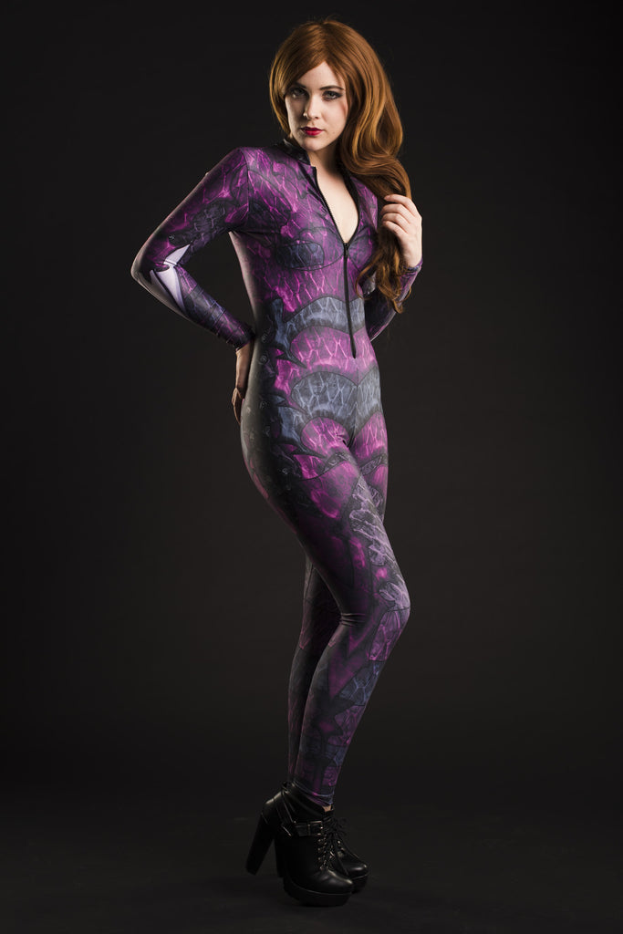 Dragon Queen Catsuit Purple - MADE TO ORDER