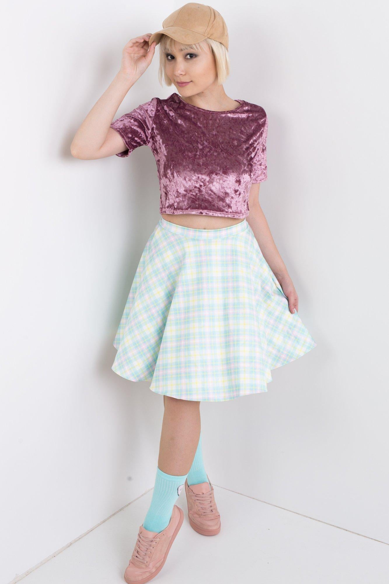 Easter Plaid Skater Skirt