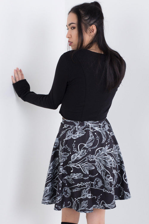 Feathers and Keys Skater Skirt