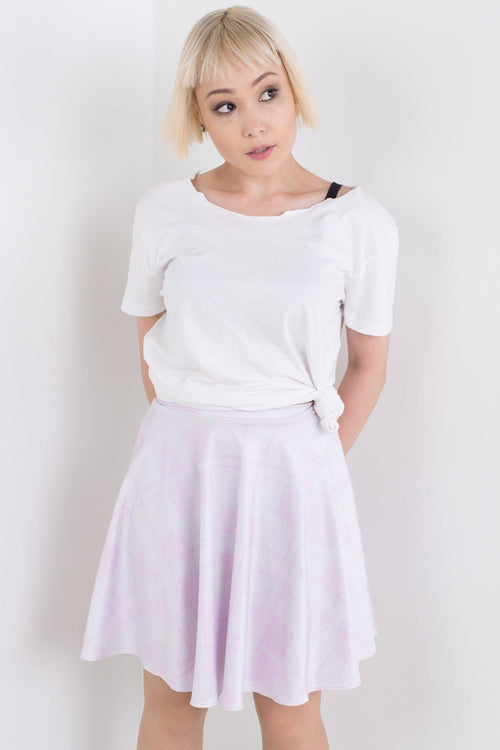 Fuzzy Pastel Plaid Skater Skirt