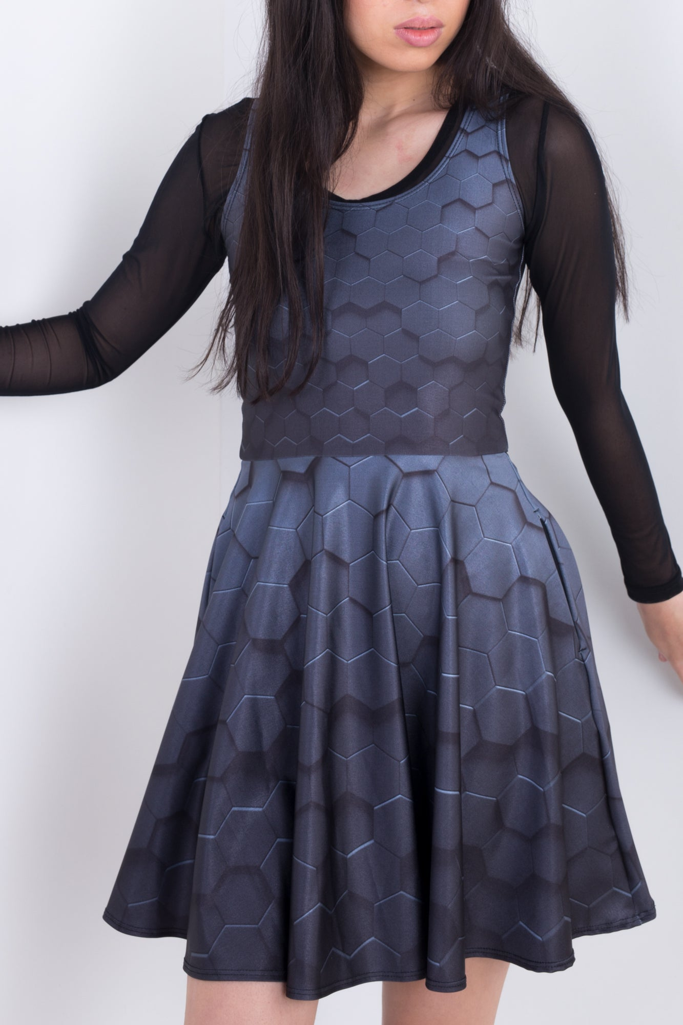 Hexagon Armour Pocket Skater Dress