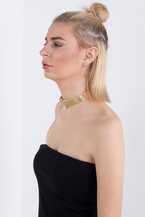 Gold Holographic Heart Choker