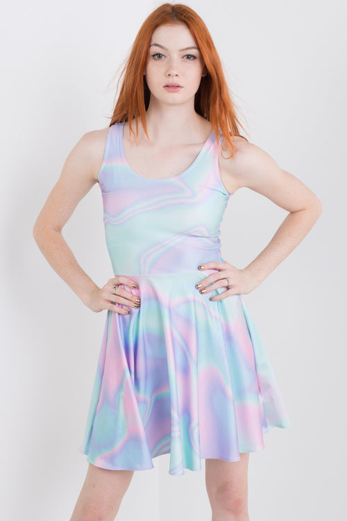 Holographic Ocean Skater Dress