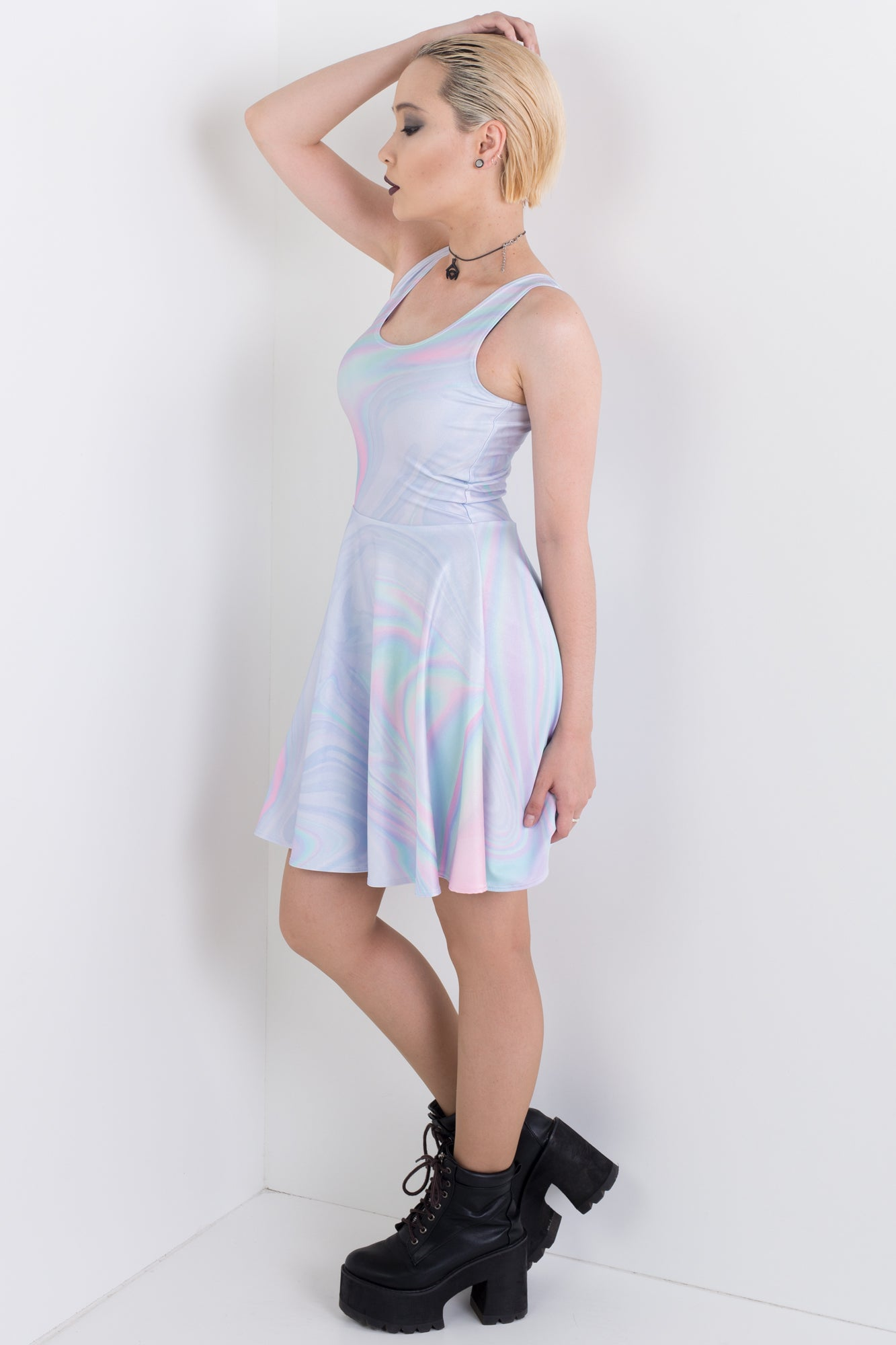 Holographic Skater Dress