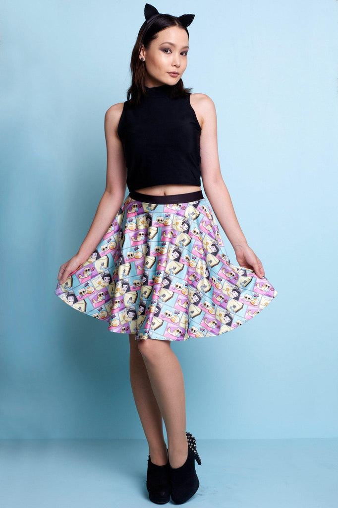 Cat Comic Skater Skirt