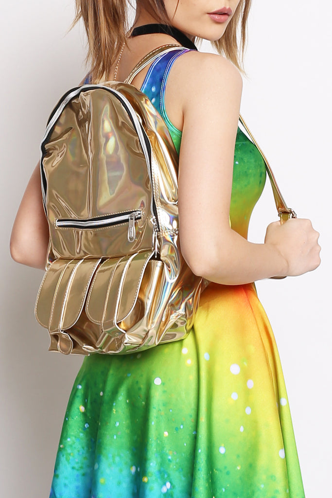 Golden Hues Holographic Backpack