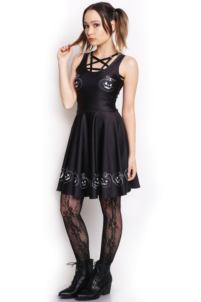 Hallowed Pumpkin Skater Dress